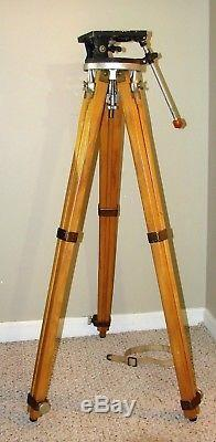 VINTAGE WOOD BRASS TRIPOD With RIES MODEL A PHOTOPLANE TILT HEAD HOLLYWOOD