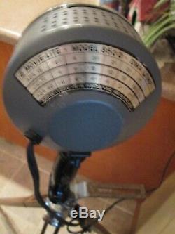 VINTAGE WOOD CHROME TRIPOD SWIVEL TILT Light / Camera MODEL 850D Movie Light