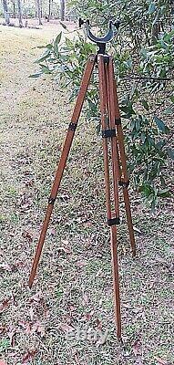 VTG Mid Century Metal Head & Connectors & Wood Tripod Camera Surveyor Telescope