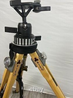 VTG Ries Junior Tripod Wooden with Brass Knobs Bogen Head 3055 by Manfrotto + case