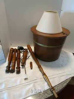 VTG early American Maple wood sugar Firkin floor lamp sewing storage table 58 t