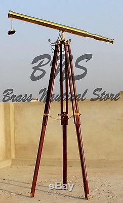 Victorian Vintage Brass Tripod Spyglass Telescope Antique Nautical Marine Stand