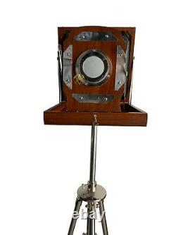 Victorian floor wooden camera with tripod stand old London vintage style decor