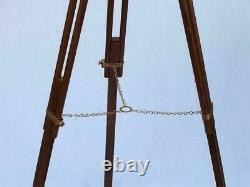 Vintage 39 nautical brass double barrel telescope floor standing wooden tripod