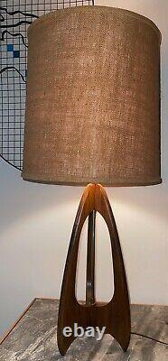 Vintage 60s Walnut Wood Modeline Tripod Lamp with Shade Mid Century Modern Atomic