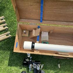 Vintage ASTRO Optic Royal Telescope Lens barrel Tripod Wooden Case D=50 f=750