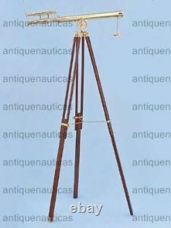 Vintage Adjustable TELESCOPE Wooden Floor Large Nautical Working Tripod Decor