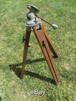 Vintage Adjustable Wooden PANRITE Camera Tripod Universal Head Testrite New York