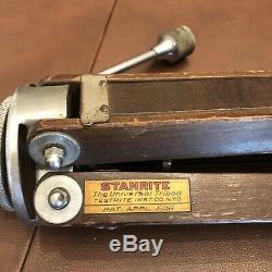 Vintage Adjustable Wooden STANRITE Camera Tripod Universal HTF