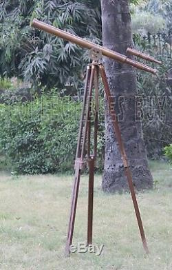 Vintage Antique Brass Telescope Master harbor Floor Wooden Tripod Floor Standing