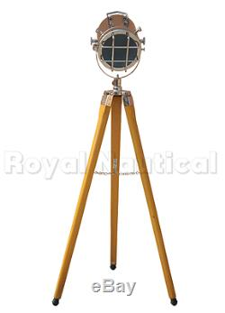 Vintage Antique Finish Nautical Tripod Floor Lamp Spotlight Wooden Searchlight