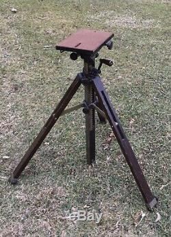 Vintage Antique Late 1920s Ansco Wooden Camera Tripod, hand-crank, complete