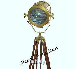 Vintage Antique Spot Light Floor Wood Tripod Search Light With Stand Home Decor