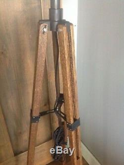 Vintage Antique Tripod Floor Wooden Survey Oak Industrial Studio Office Lamp