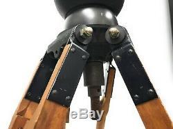 Vintage Arri Geared Tripod Head On Wooden Tripod With 2 Floor Spreaders