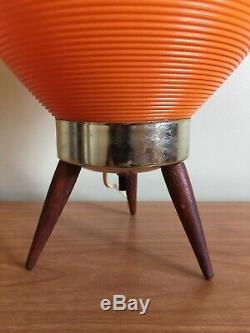 Vintage Beehive Lamp Tripod Base Orange Beehive Wooden Legs