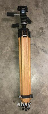 Vintage Berlebach Billingham Wooden Tripod With Bogen Manfrotto 3047 Head