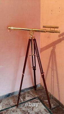 Vintage Brass Double Barrel Tripod Telescope Nautical Maritime Home Decor