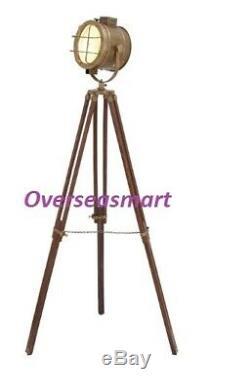 Vintage Brass Nautical Searchlight Floor Lamp Spotlight Wooden Tripod Best Item