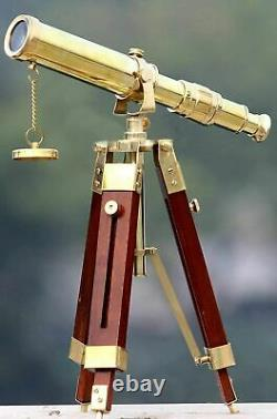 Vintage Brass Nautical Telescope 10 Inch With Wooden Tripod Stand Handmade Gift