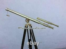 Vintage Brass Nautical Telescope on Wooden Tripod Adjustable Marine Decor Gift