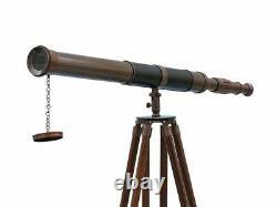 Vintage Brass Signal Barrel Telescope On Wooden Tripod Maritime Nautical 60Tall