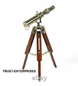 Vintage Brass Spyglass Nautical Table Telescope With Brown Wooden Tripod
