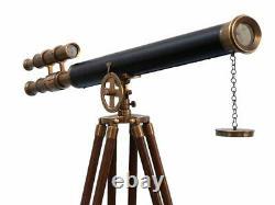 Vintage Brass Telescope On Wooden Tripod Maritime Nautical 60 Tall