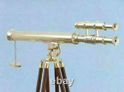 Vintage Brass Telescope With Wooden Tripod Stand Nautical Floor Standing New