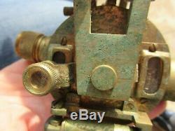 Vintage Brass Theodolite on Wooden Extending Tripod 62cm extended 47cm Collapsed