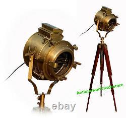 Vintage Brass Tripod Spotlight Searchlight Floor Lamp Nautical Floor Lamp