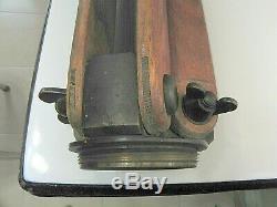 Vintage Buff Oak Wood Transit Tripod With Brass Adjustments