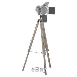 Vintage Chrome Silver Mirrored Panel Spotlight Washed Wood Tripod Floor Lamp NEW