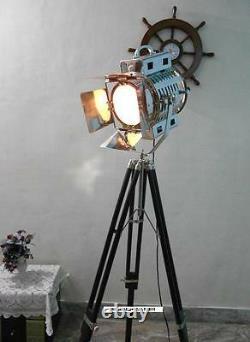 Vintage Classic 1950's Black Wooden Tripod Floor lamp Chrome Finish Spot Light