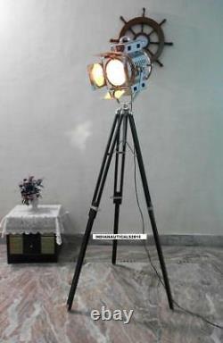 Vintage Classic 1950s Black Wooden Tripod Floor lamp Chrome Finish Spot Light