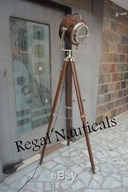 Vintage Classic Decor Photographers Spot Searchlight Tripod Floor Wooden Lamp