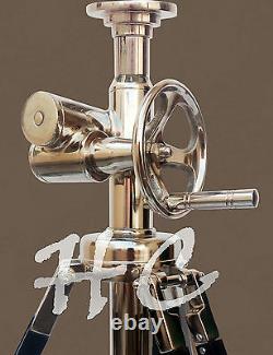 Vintage Classical Chrome Tripod Lamp Industrial Nautical Marine Table Shade Lamp