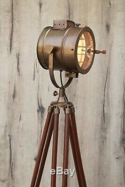 Vintage Dark Brown Industrial Tripod Floor Lamp