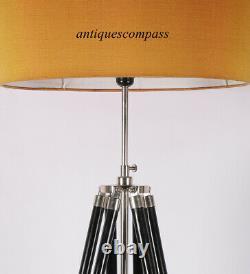 Vintage Designer Nautical Floor Shade Lamp Black Tripod Stand Home Decor