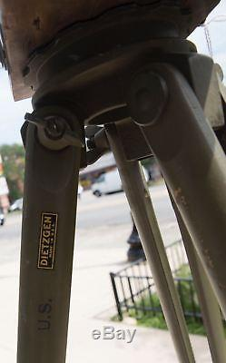 Vintage Dietzgen US Army Green Adjustable Wooden Surveying Tripod-Rare! CMB