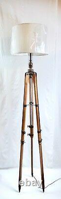 Vintage Dietzgen Wood & Brass Tripod Floor Lamp