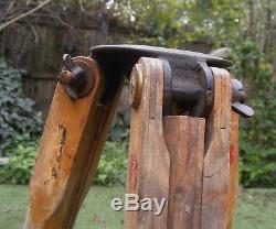 Vintage Dietzgen Wooden Brass Surveying / Transit Telescopic Tripod Stand