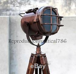 Vintage E27 Led Floor Lamp With Wooden Tripod Handmade Searchlight Lamp Decor
