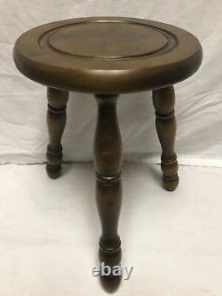 Vintage English Wooden Tripod Pedestal Milk stool Plant Stand Chair