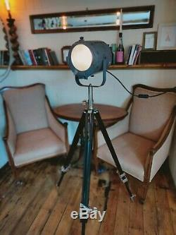 Vintage Floor Lamp Long Theatre Stage Spotlight and Wooden Tripod pat tested