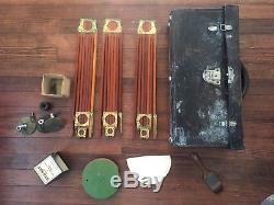 Vintage Folmer & Schwing Wooden Crown Tripod with Case