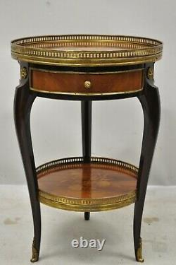 Vintage French Louis XV Marquetry Inlay Bronze Ormolu 1 Drawer Tripod Side Table