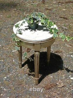 Vintage French Provincial Small Round Marble Top Tripod Side Table