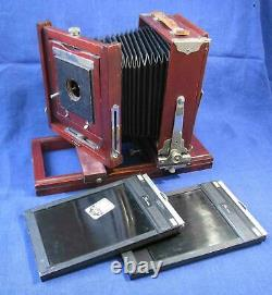 Vintage GUNDLACH KORONA wooden folding camera & original tripod