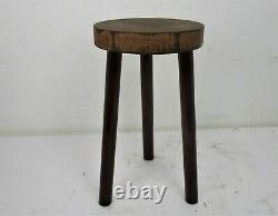 Vintage Hand Carved wood Tripod Milking Stool Pedestal Table Pedestal Barn Style